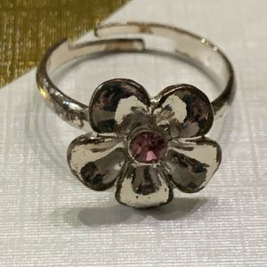 5 for $10 jewelry sale silver flower pink stone